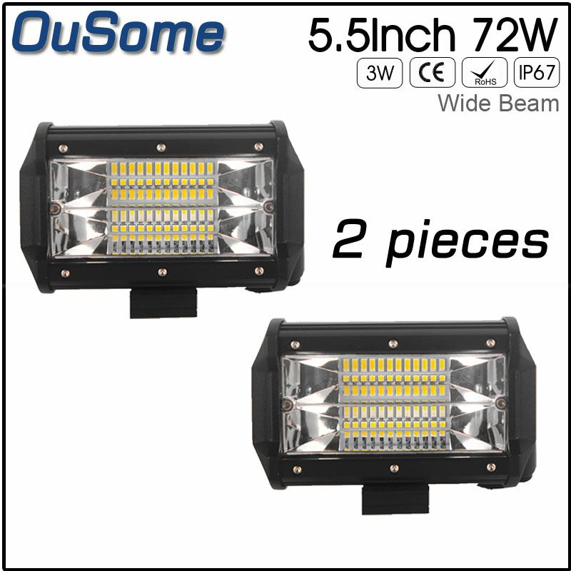 OuSome 2 pack 5.5 inch 72w new wide beam flood beam waterproof 4x4 tractor car truck 12v 24v DC offroad LED work light
