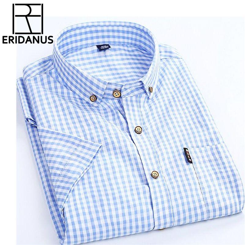 Hohe Qualität Männer Hemd 2017 Marke Business Casual Kurzarm Plaid männer Kleid Hemd Sozial Baumwolle Kleidung Slim Fit X100