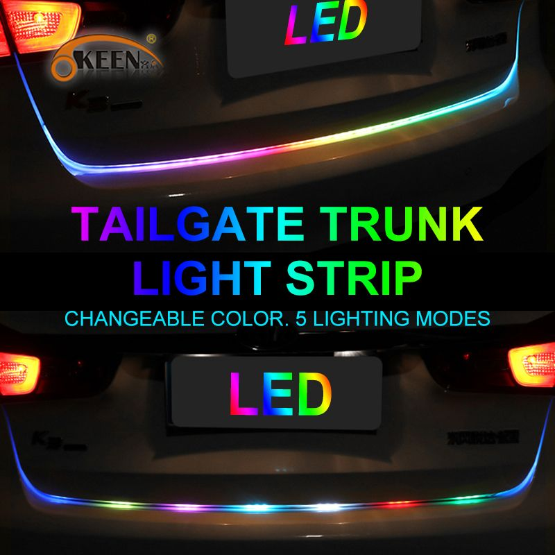 OKEEN 47.6inch led trunk strip Light yellow turn signal car Tailgate Colorful flash LED Light Bar Reverse strips car-styling