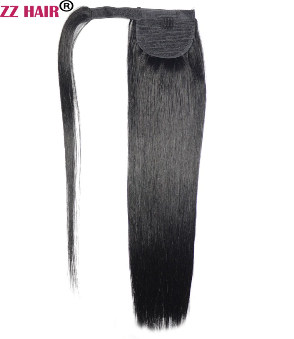 ZZHAIR 100g 16-26 Machine Made Remy Hair <font><b>Magic</b></font> Wrap Around Ponytail Clip In 100% Human Hair Extensions Horsetail Stragiht