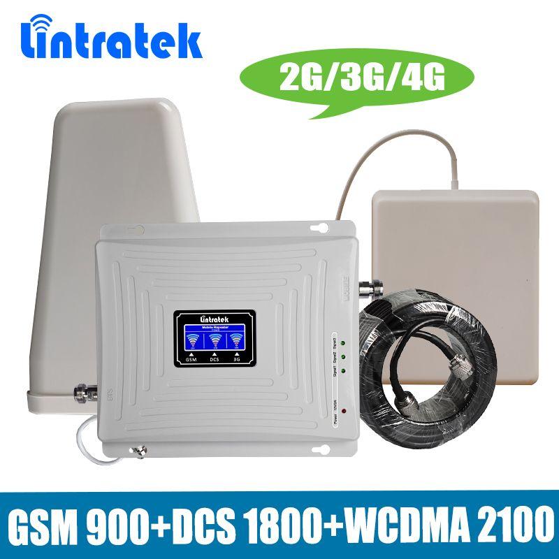 Lintratek Tri-band-handy Signal Repeater 2G 3G 4G GSM 900/DCS LTE 1800/WCDMA UMTS 2100 MHz Zellulären Signalverstärker Verstärker Set