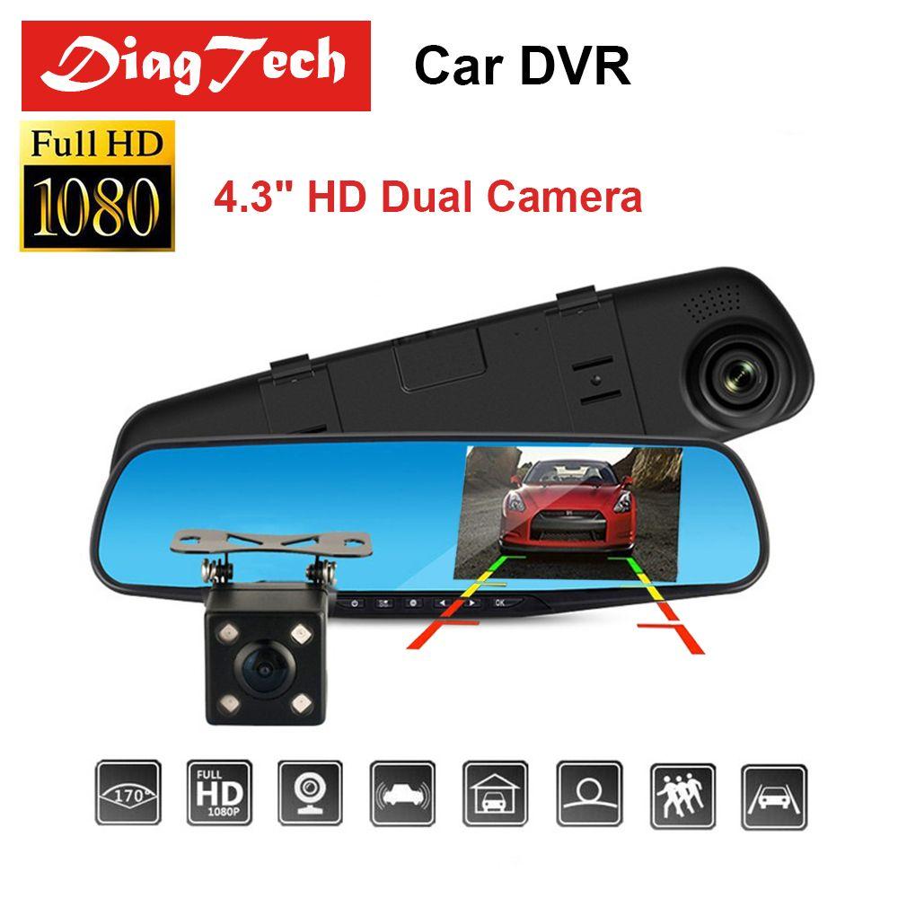 Gryan 4.3 Inch Car DVR Camera Dash Cam FHD 1080P Dual Lens Car Auto DVR Mirror Recorder Car Rearview Mirror G-sensor DVRs