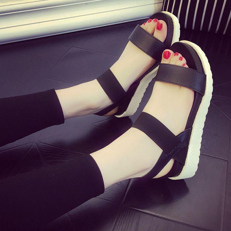= 2018 nouveau BIGTREE femmes sandales chaussures plates d'été femmes mode femmes rayure talon plat Anti dérapage plage chaussures sandales pantoufle