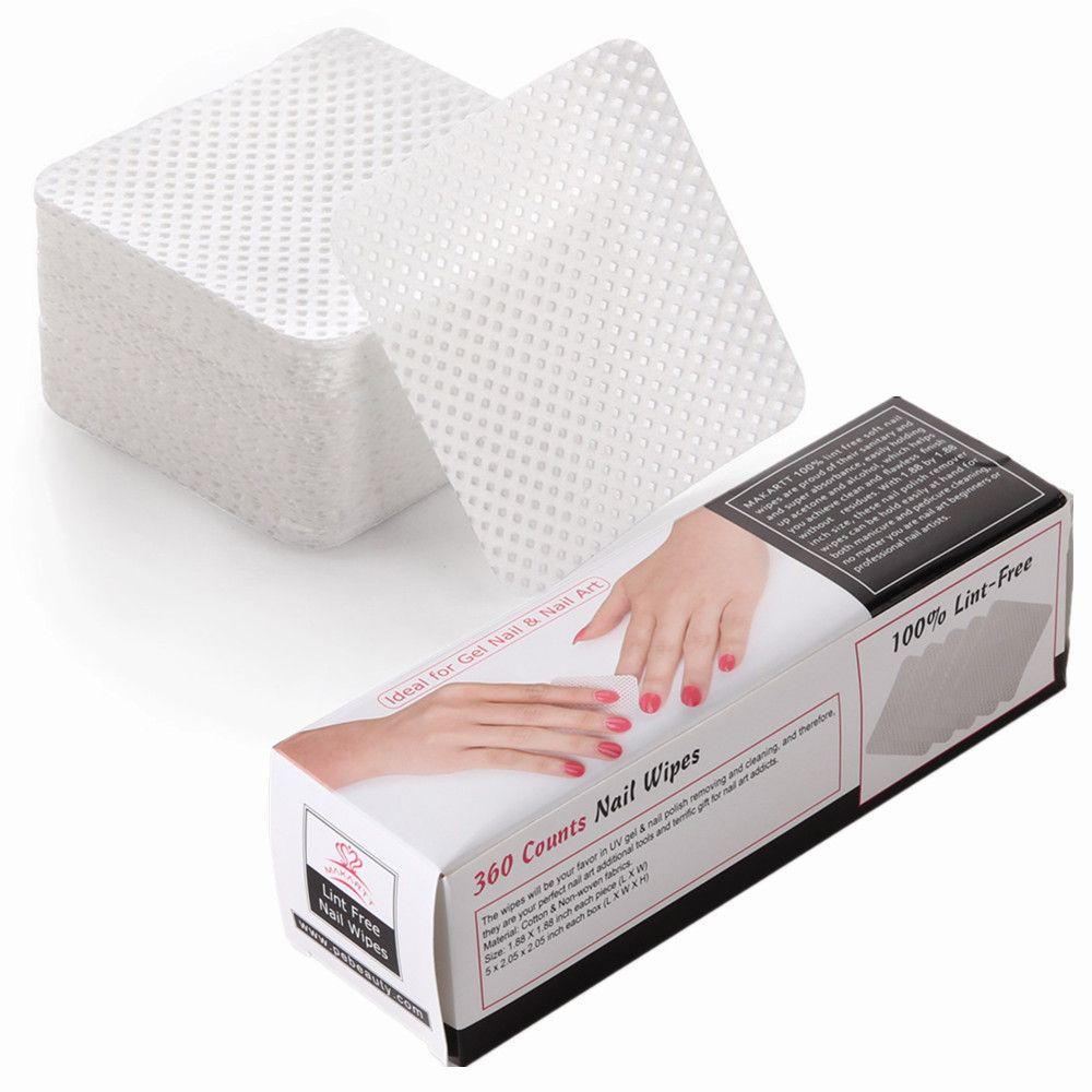 MAKARTT 360 pcs/boîte Lint Nail Gratuit Lingettes Doux Absorbant Polonais Gel Acrylique Conseils Coton Remover Cleaner F0680