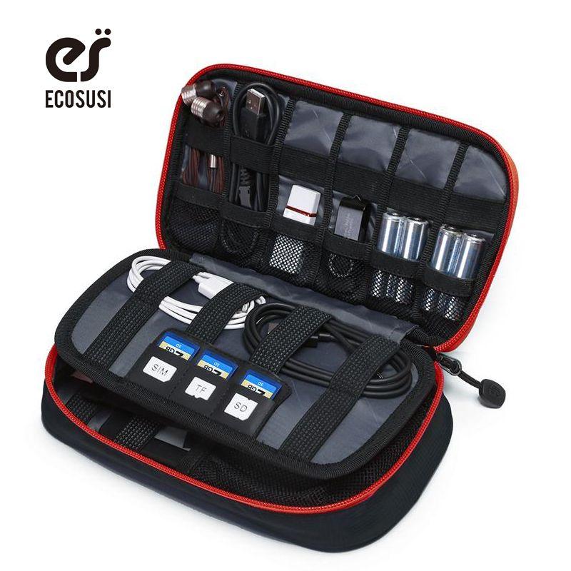 Ecosusi portátil accesorios digital dispositivos gadget organizador bolsa de almacenamiento caja de cable usb cargador de mano bolsas organizador de viajes