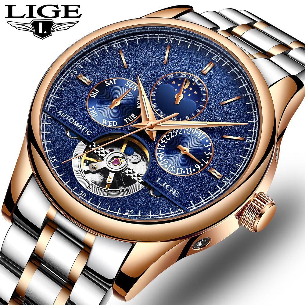 LIGE Brand Men watches Automatic mechanical watch tourbillon Sport clock full steel Casual business wristwatch relojes hombre