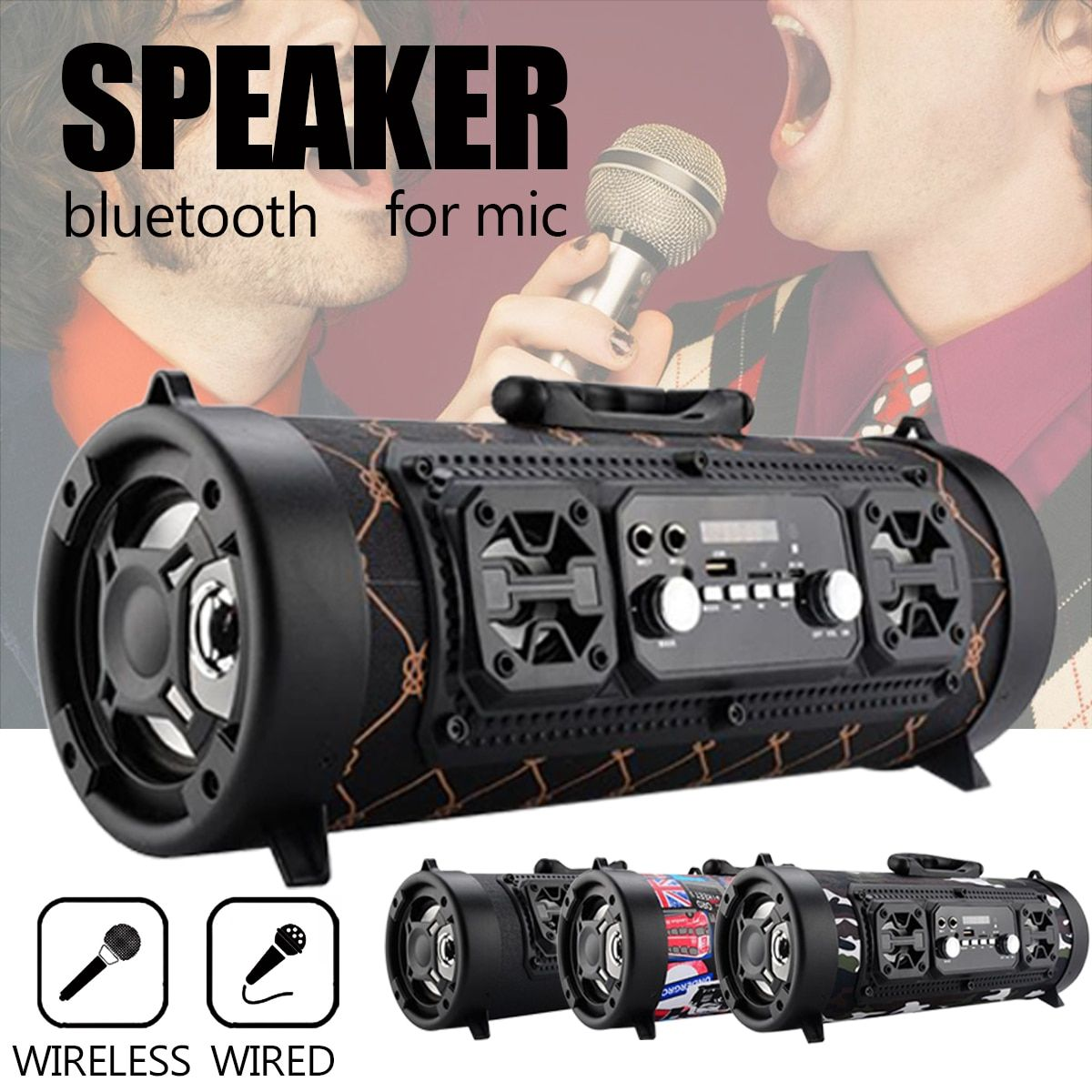 Portable Wireless Bluetooth 4.2 Speaker Hifi Music Surround Stereo USB/ AUX/TF Card Subwoofer Loudspeaker Brass with MIC Outdoor