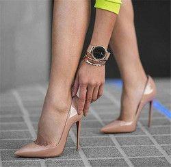 Okhotcn sexy Remaches brillante/charol Tacones altos punta estrecha desnudo Bombas Zapatos partido Zapatos mujeres stiletto bomba del alto talón 12 cm