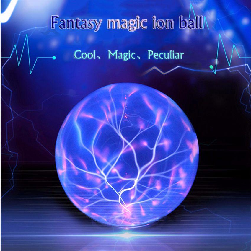 Control de sonido de Luz Bola de Cristal de Iones Lámpara Mágica Bola de Plasma de Cristal Esfera del Relámpago de Ambiente Lámparas Novedad Noche Diámetro 20 cm