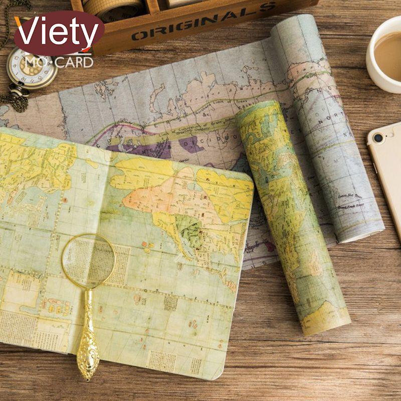 20 cm * 5 M vintage mapa washi cinta DIY decoración scrapbooking planificador cinta adhesiva etiqueta papelería