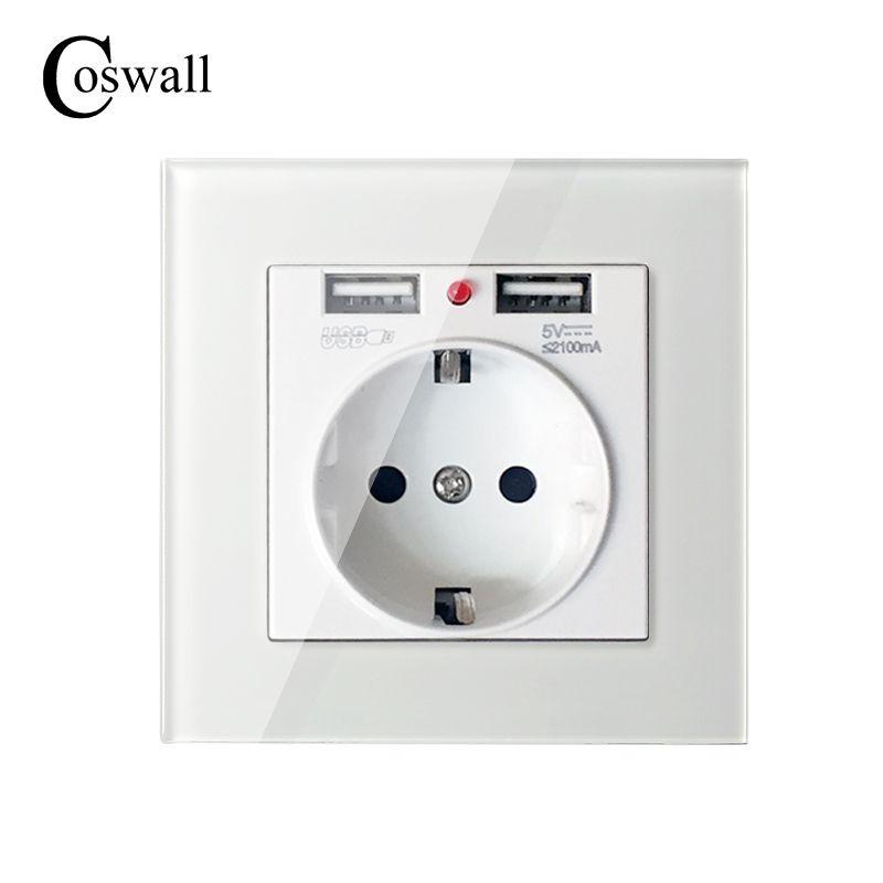 COSWALL 2017 Mur Prise D'alimentation À La Terre 16A UE Prise Électrique Standard Avec 2100mA Double USB Chargeur Port pour Mobile