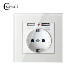Coswall 2017 настенные Мощность разъем заземленной 16a ЕС Стандартный электрической розетке с 2100ma Dual USB Зарядное устройство Порты и разъёмы для мо...