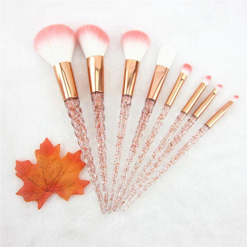 8pcs Red Glitter Diamond Unicorn Brush Crystal Brushes Foundation Blending Power Eyeshadow Brush Cosmetic Beauty Make Up Tool