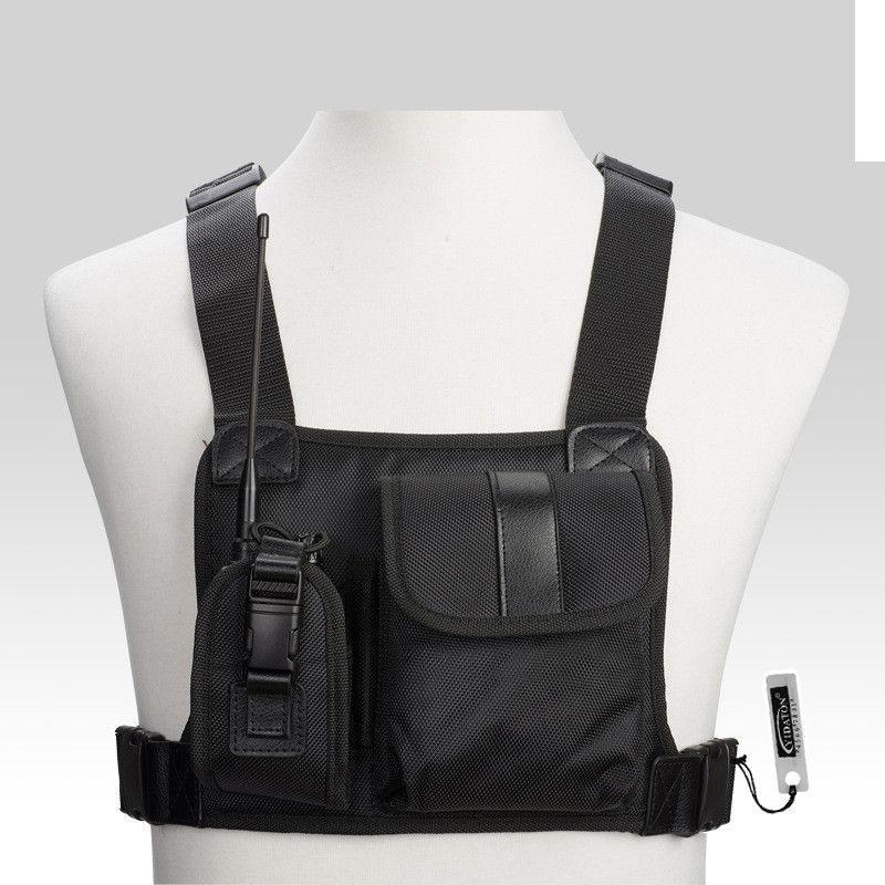 Pour Baofeng Radio poitrine harnais poitrine avant Pack poche étui gilet plate-forme de transport Cade pour Baofeng TYT Wouxun Motorola talkie-walkie