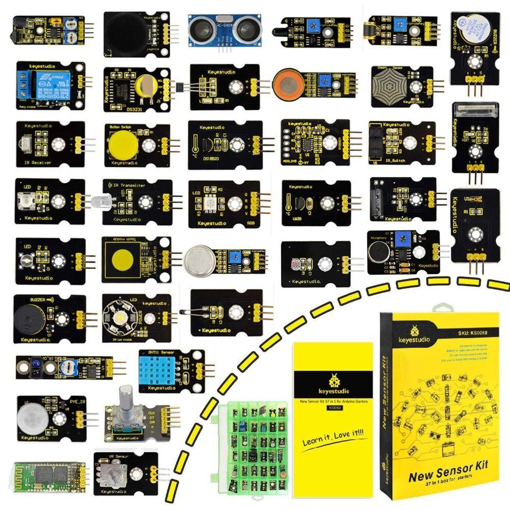 New Packing!Keyestudio37 in 1 Sensor Kit for Arduino Programming Education (37pcs Sensors)+37 Projects+PDF+Video
