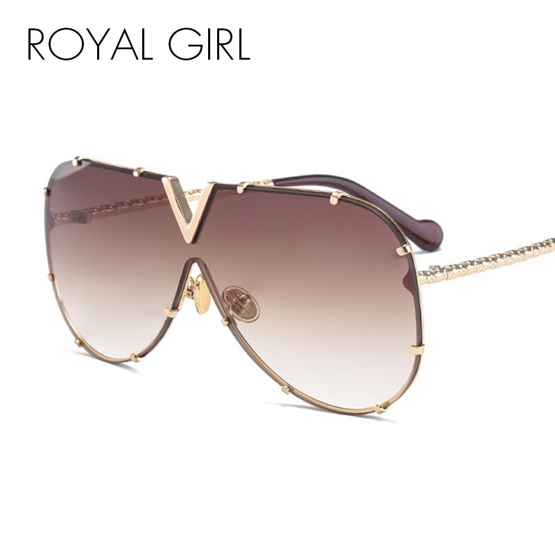 ROYAL GIRL Fashion Sunglasses Men Women Brand Design Metal Frame Oversized Personality High Quality Unisex Sun Glasses ms678