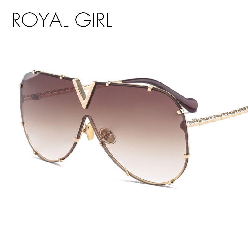 ROYAL GIRL Fashion Sunglasses Men Women Brand Design Metal Frame Oversized Personality High Quality Unisex Sun Glasses ms678