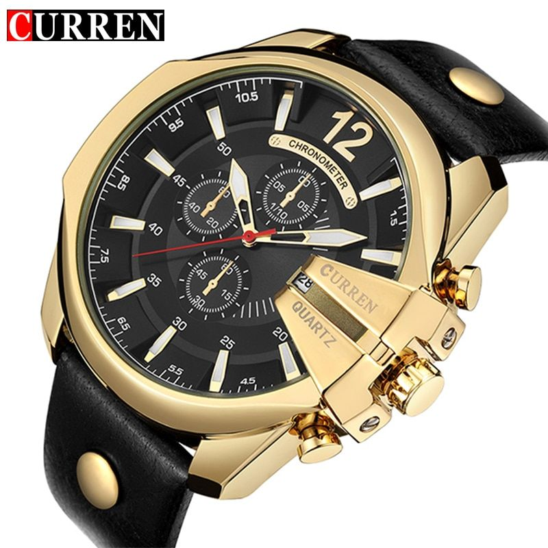 CURREN Men's Sports Quartz Watch Men Top Brand Luxury Designer Watch Man Quartz Gold Clock male <font><b>Fashion</b></font> Relogio Masculino Date