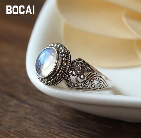 Nepal 925 sterling silber eingelegte natürlichen Mondstein Ring