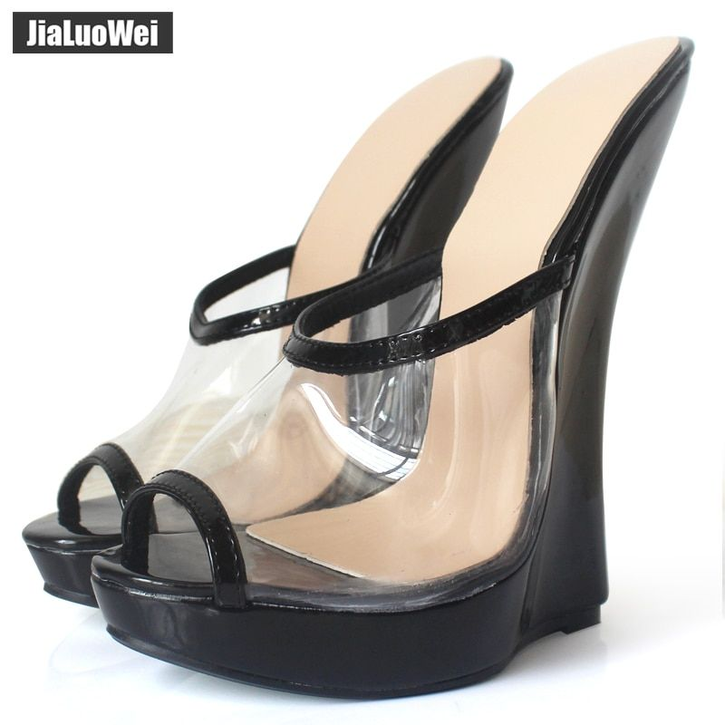 jialuowei Brand Women Sandals 2018 Fashion Sexy Transparent Sandals 18cm High Heels Wedges Pumps Peep Toe Slip-On Shoes