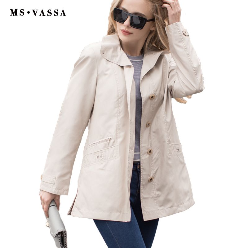 MS VASSA Women jacket Spring Autumn 2017 fashion basic coat casual ladies jacket plus size 5XL 7XL turn down collar outerwear