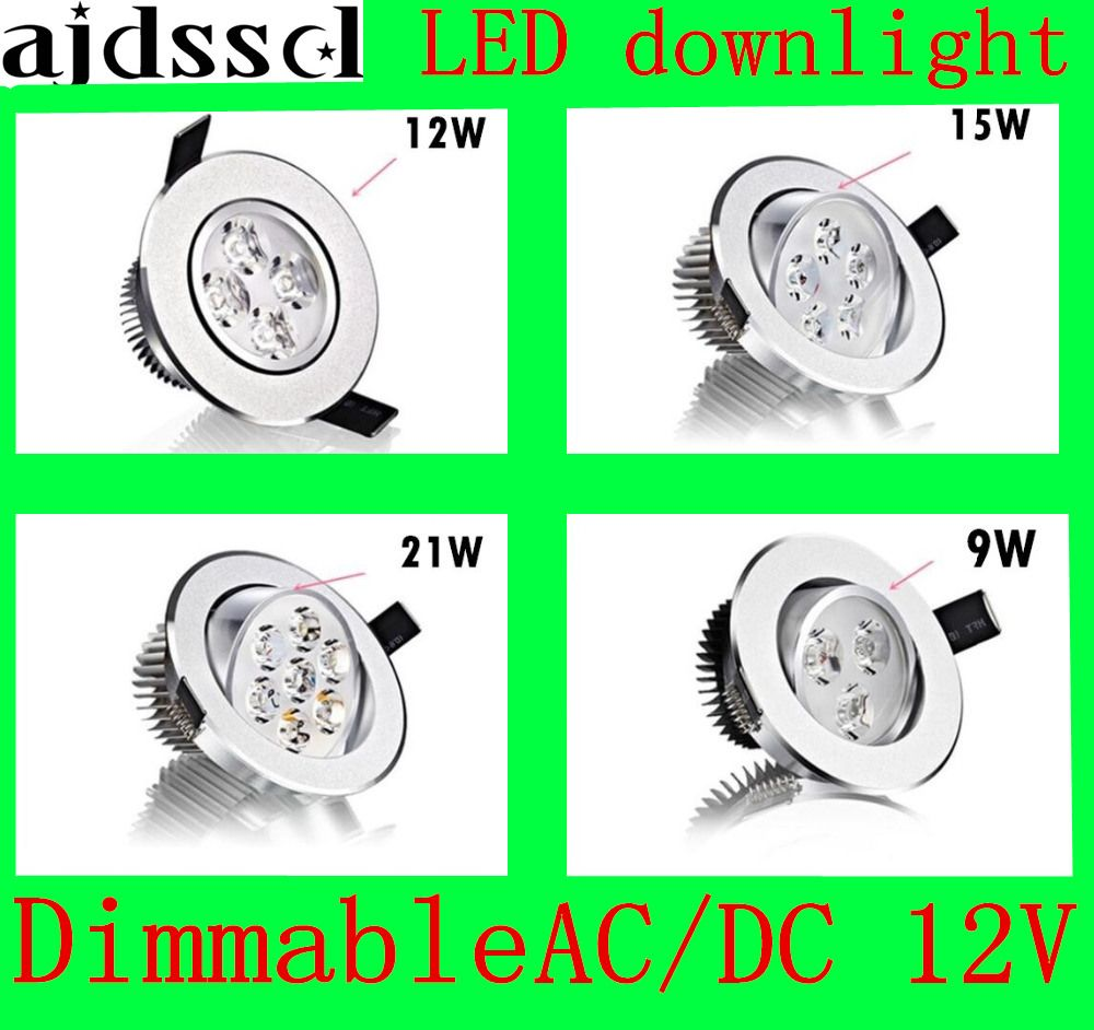 1X Bright Recessed LED Dimmable Downlight COB 9W 12W 15W 21W LED Spot light decoration Ceiling Lamp AC/DC12V