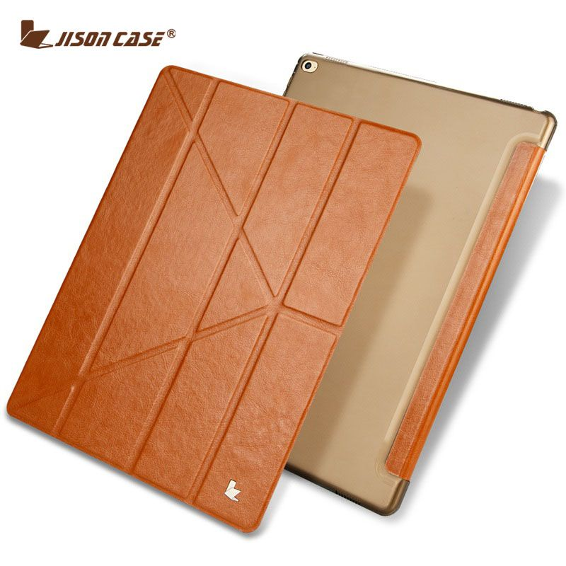 Jisoncase Flip Fall für iPad Pro 12,9 PU Leder Transparent Tablet Folio Smart Cover für iPad Pro 12,9 Slim auto Wake Funda
