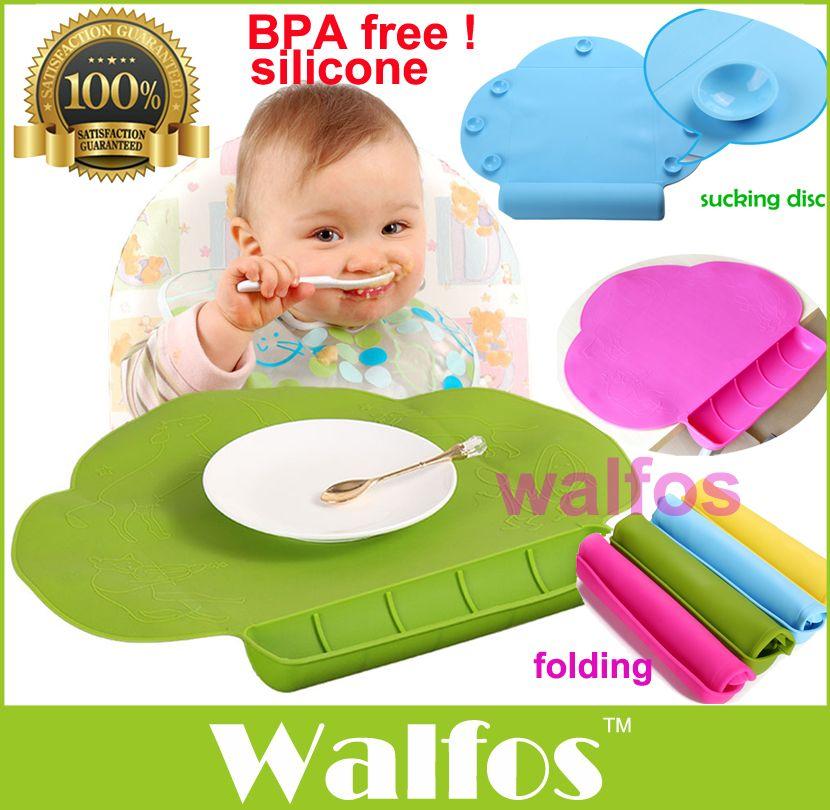 WALFOS qualité alimentaire silicone bébé bavoir Table tapis infantile minuscule Diner Portable napperon pour enfants bébé alimentation silicone bébé napperon