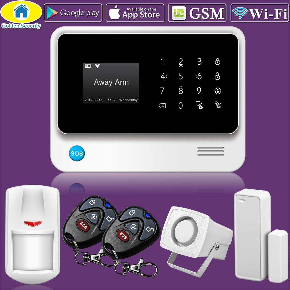 Золотой безопасности g90b Wi-Fi GSM сигнализация дома 2 г Беспроводной Охранной Сигнализации sms-оповещение аварийная система PIR Сенсор 110db сирен