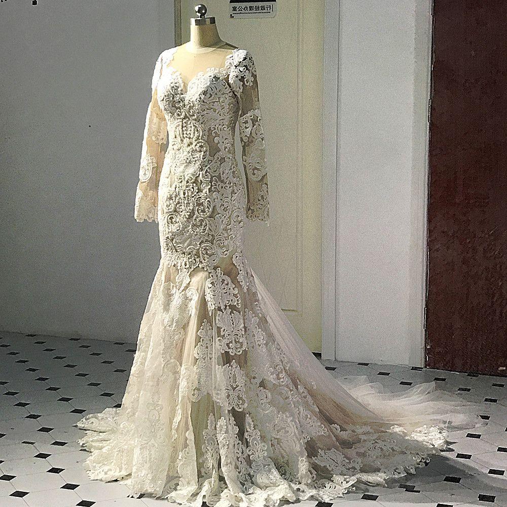 RSW506 Long Sleeve Mermaid Lace Champagne Bridal Gown Mermaid Wedding Dresses 2018