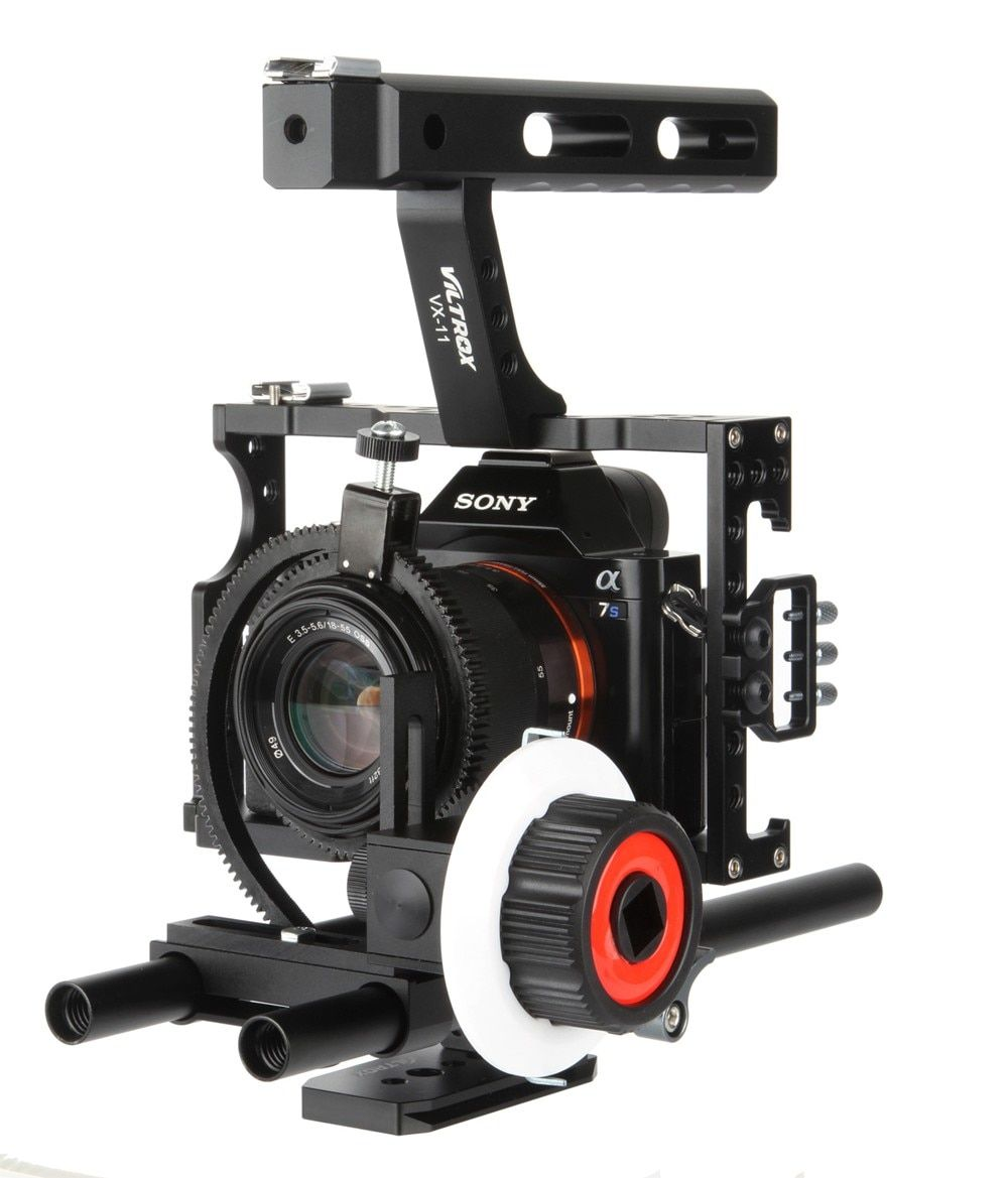 Viltrox 15mm Rod Rig DSLR Video Cage Kit Stabilizer + Handle Grip + Follow Focus for Sony A7II A7r A7s A6300 Panasonic GH4 / M5