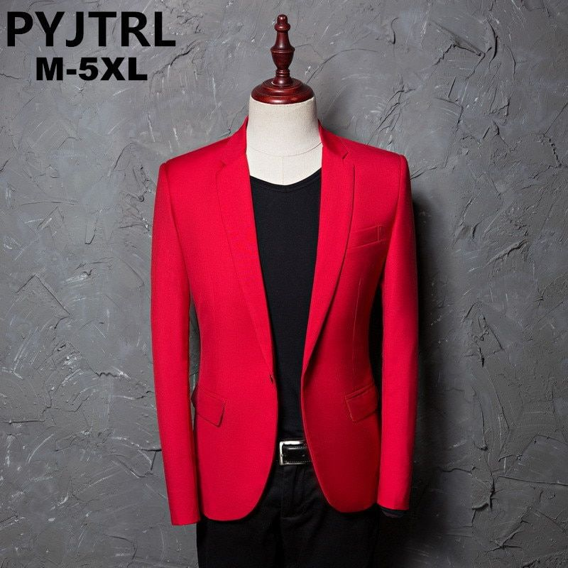 PYJTRL Brand Men's Casual Red Suit Jacket Plus Size 4XL Wedding Slim Fit Men Blazer Stage Costumes For Singers Costume Homme