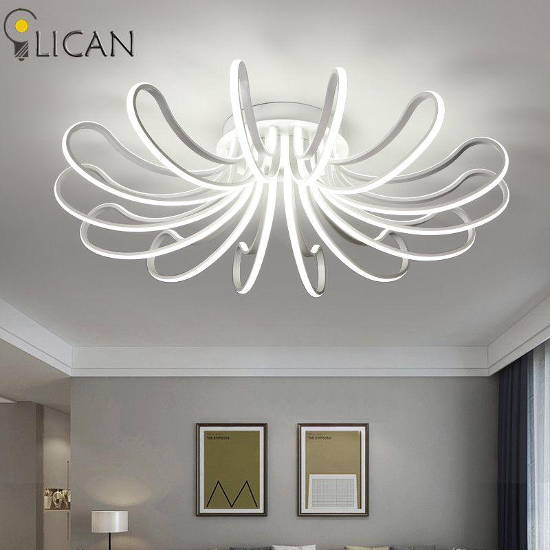 LICAN Chandelier Lighting Modern LED Luminarine Living Bedroom decorative lights Dimmer with remote control White Chandelier LED