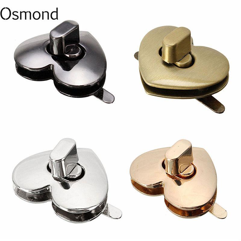 Metal Heart Shape Clasp Bronze Tone Trunk Lock Replacement Handbags Bag DIY Accessories for Purse Snap Clasps Closure Locks