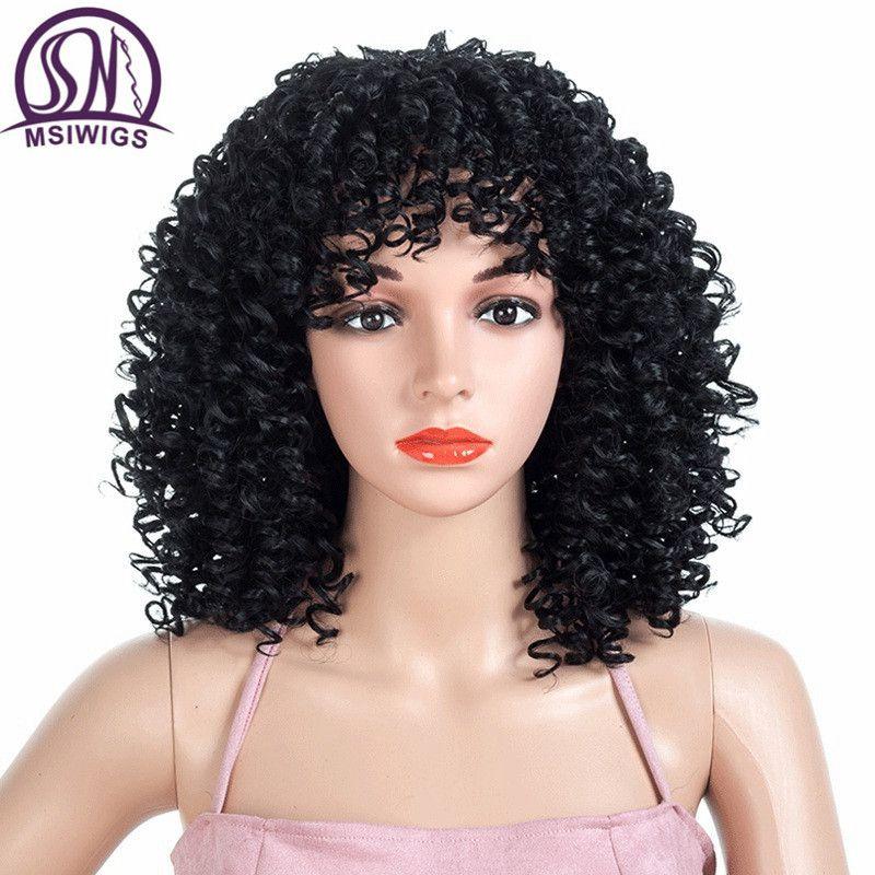 Msiperruques 18 pouces moyenne Afro bouclés perruques pour femmes noir brun synthétique perruque afro-américaine Blonde cheveux rouges résistant à la chaleur