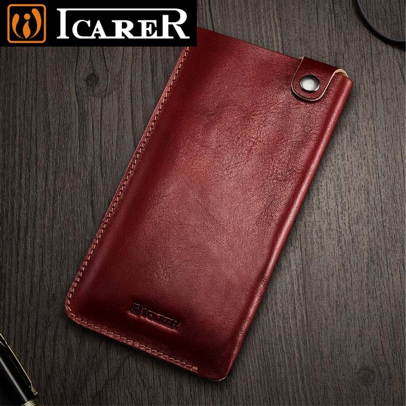 Original iCarer For iPhone 8 Plus Case Luxury Vintage Genuine Leather Phone Pouch Bags Holster Cases For iPhone 6 6S 7 Plus X