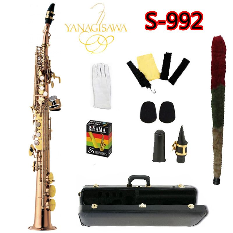 New YANAGISAWA S-992 Soprano Saxophone B flat Gold Lacquer professionally Musical instruments saxophone YANAGISAWA SAX