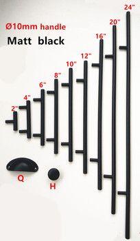 Diamètre 10mm Noir Mat En Acier Inoxydable Cuisine Porte Cabinet T Bar Poignée Bouton 2