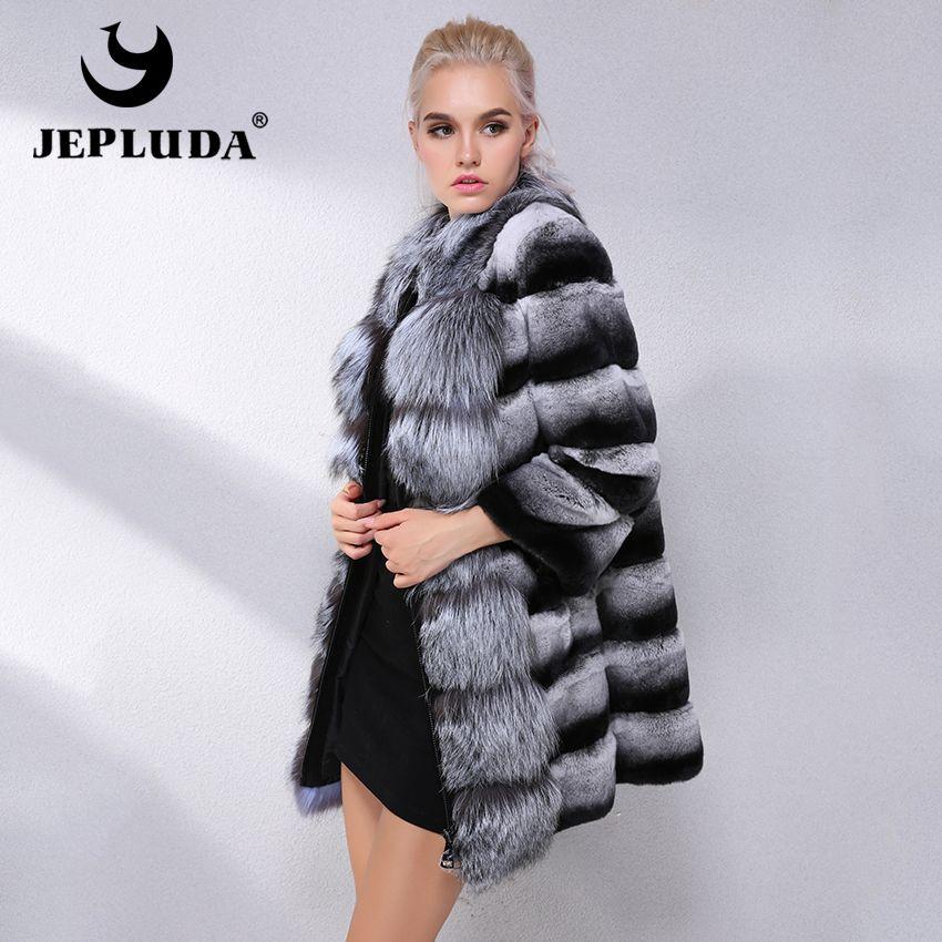 JEPLUDA Brand Hot Sale Winter Real Fur Coat Women With Fox Fur Collar Natural Rex Rabbit Fur Coat Women Real Fur Jacket Leather