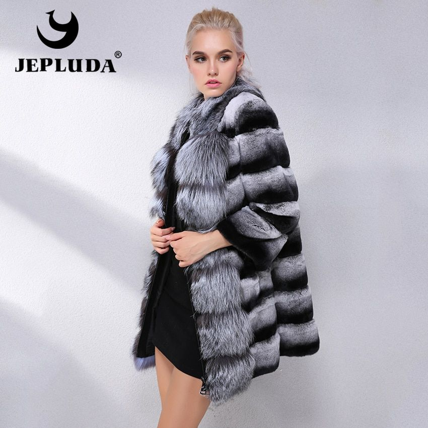 JEPLUDA Brand Hot Sale Winter Real Fur Coat Women With Fox Fur Collar Natural Rex Rabbit Fur Coat Women Real Fur Jacket Leather