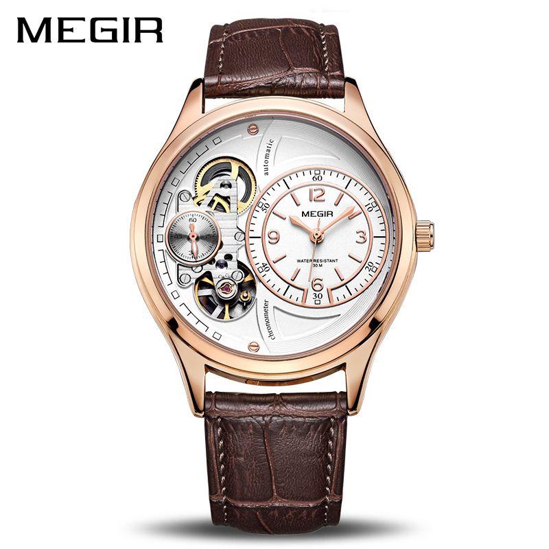 MEGIR Original Men Watch Top Brand Luxury Quartz Watches Relogio Masculino Leather Military Watch Clock Men Erkek Kol Saati 2017
