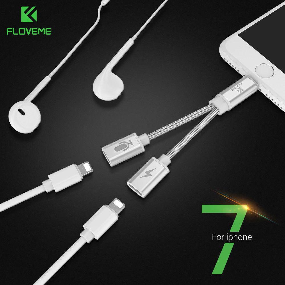 FLOVEME Audio Convertisseur Pour iPhone 7 8 Plus X 2 dans 1 Splitter Casque Jack Adaptateur Aux Câble USB Écouteur Connecteur De Chargement