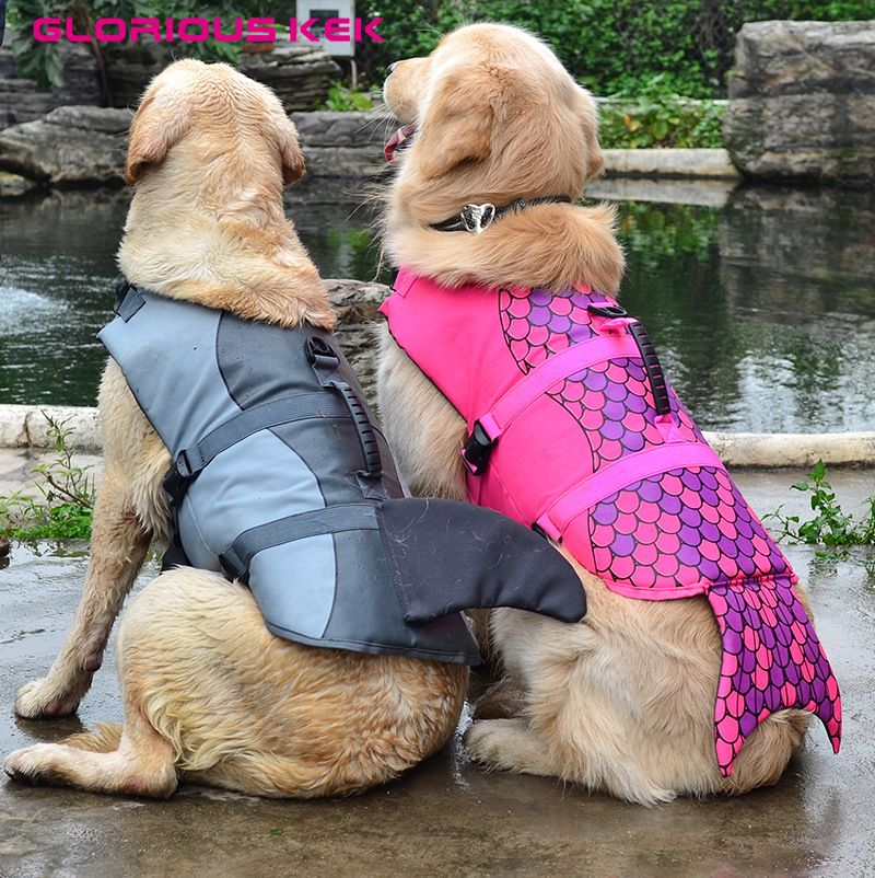 GLORIOUS KEK Newest Dog Life Vest Summer Pet Dog Life Jacket Safety Summer Dog Clothes Cute Mermaid <font><b>Shark</b></font> Dog Costume S/M/L
