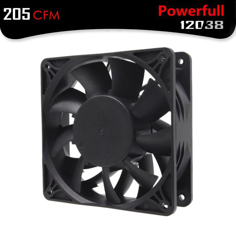 ALSEYE DC 12V Powerful fan 2.5A 12038 Mining Fan 120mm PWM 4600RPM 205CFM Two Ball Copper Hub Cooling Fan for Bitcoin Mining