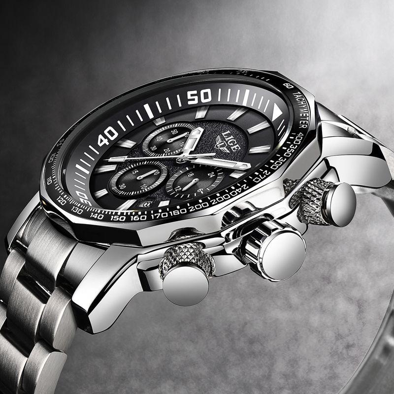 2018 LIGE Herren Uhren Top Brand Luxus Mode Quarz Uhr männer Alle Stahl Wasserdichte Sport Militär Uhr Relogio Masculino