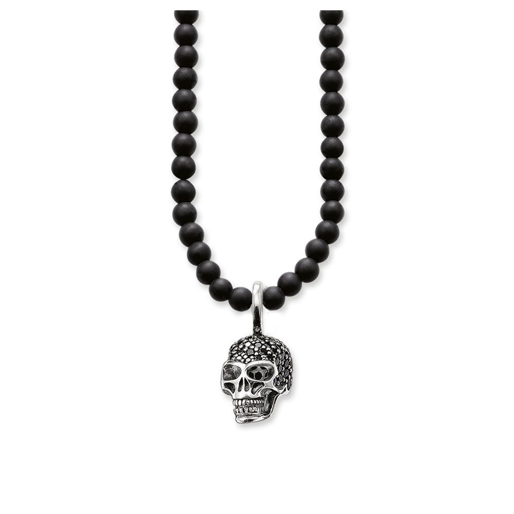 Natural Stone Obsidian Beads 925 Sterling Silver Black Zirconia Skull Necklaces Pendants, Most Fashion Jewelry Chokers for Men