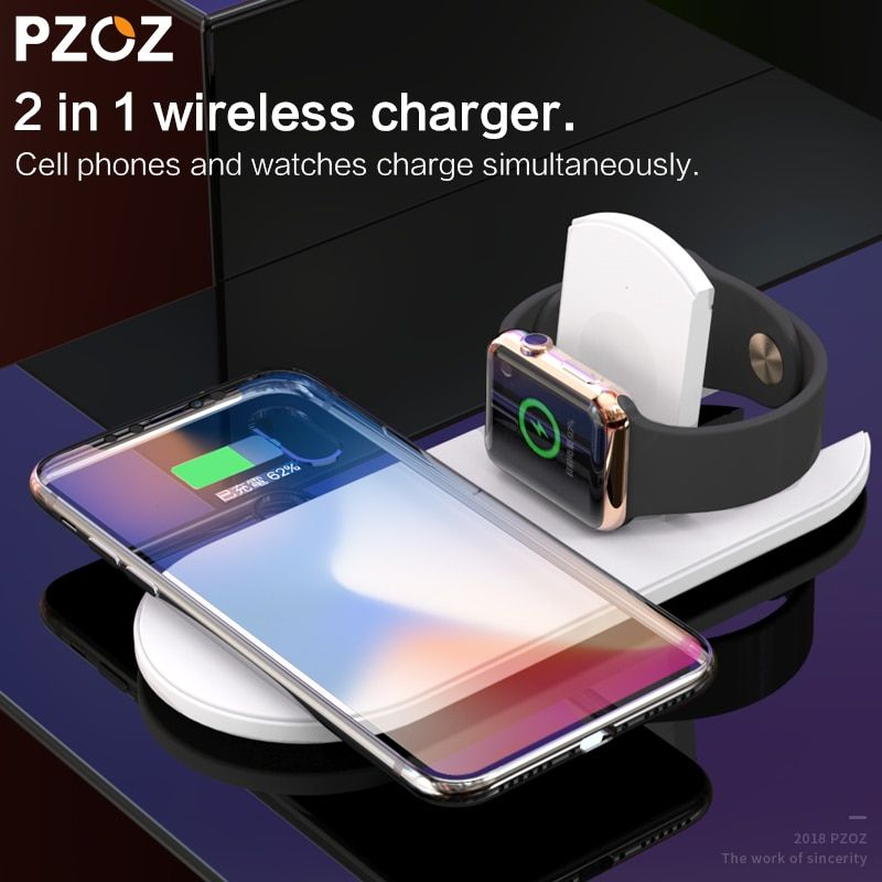 PZOZ 2 in 1 Wireless charger USB Fast Charging Phone Adapter for apple watch 3 iwatch 1 2 iphone X 8 Plus Samsung S9 S8 note 7 8