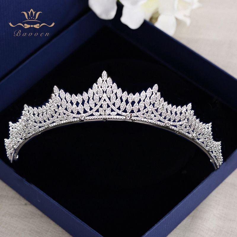 Bavoen Hohe Qualität Elegante Bräute Diademe Kronen Volle Zirkon Bräute Kopfschmuck Funkelnden Überzogene Kristall Hochzeit Haar Zubehör