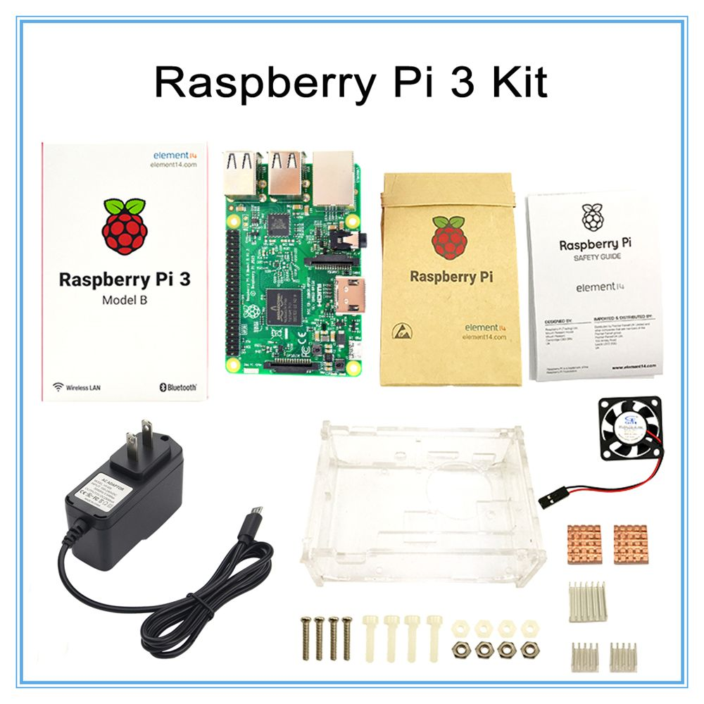 Raspberry Pi 3 Model B Board +Raspberry Pi3 Case +Power Plug(EU &US)+Heat Sinks