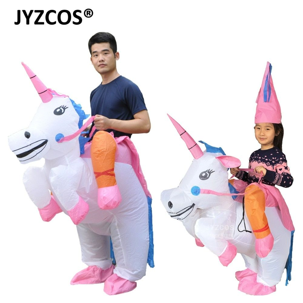 JYZCOS Inflatable Unicorn Costumes for Kids Adult Fancy Dress Ride Horse Suit Halloween Purim Carnival Party Boys Girls Outfit
